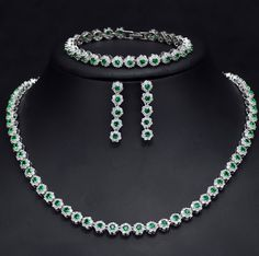 PANSYSEN Wedding Engagement 925 Silver Necklace/Earrings/Bracelet Jewelry Set Emerald Gemstone Women Jewerly Sets Gem Color Green Length 42 and Extend Prom Earrings, Prom Jewelry, Wedding Jewelry Sets, Wedding Sets, Bridal Earrings, Silver Jewelry, Fine Jewelry, Wedding Dancing, Engagement Jewelry