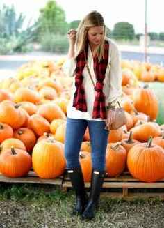 Casual for Fall - Hunter Boots, Buffalo Plaid & Skinny Jeans