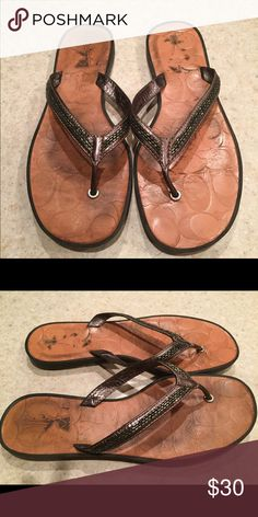 Coach Sandal COACH Sandal with sequin detail. Nice leather, very comfortable! Coach Shoes Sandals