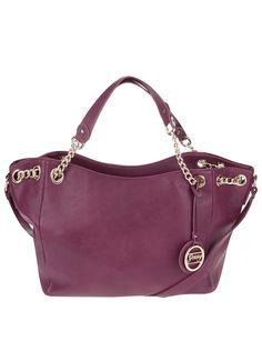 Ružovo-fialová väčšia kabelka s ozdobným príveskom Gessy