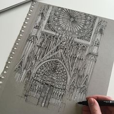 Have nearly finished Strasbourg Cathedral... #art #drawing #pen #sketch #illustration #architecture #cathedral #strasbourg #strasbourgcathedral #france