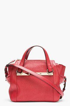 Chloe Red Pebbled Leather Bridget Shoulder Bag 18