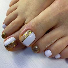 Toe Nails With Gold Accent ❤ See more ideas on our blog!! #naildesignsjournal #nails #nailart #naildesigns #toenails #toenailcolors #pedicure #toes French Tip Pedicure, Pink Pedicure, Pedicure Nail Art, Toe Nail Art, Gel Nails, Nail Polishes, Pink Nails, Best Toe Nail Color, Nail Colors