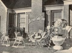 here comes santa claus lawn 1954 Ghost Of Christmas Past, Christmas Neighbor, Christmas Yard, Old Christmas, Old Fashioned Christmas, Victorian Christmas, Christmas Music, Retro Christmas, A Christmas Story