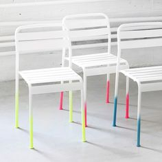 Jazz up an ordinary dining chair with an Ombre effect. It's all about the detail when it comes to this trend, so take your time and get it right. The ispydiy blog have suggested a wining combination of neon spray paint on a whiet modern chair. Simply spray heavier at the foot of the leg and create a gradual gradient fading off. Your toes will be tapping...