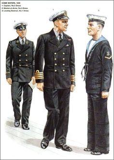 Royal Navy, Captain, Master at Arms, Leading Seaman by Alix Baker British Uniforms, Ww2 Uniforms, Navy Uniforms, Military Uniforms, Royal Navy Uniform, Marine Uniform, Marina Real, Uk Navy, Soldier Costume