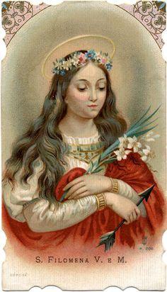 Vintage Holy Card of St. Philomena
