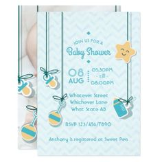 Scrapbook Style Baby Boy Arrival Shower add photo Card - baby gifts child new born gift idea diy cyo special unique design