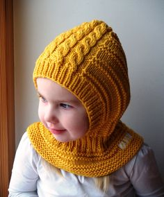 Waldorf inspired winter and snow hat. Hand knitted hoodie / balaclava hat for baby, toddler, child. Made from yellow merino wool. Baby Hats Knitting, Sweater Knitting Patterns, Knit Patterns, Knitted Hats, Sombrero A Crochet, Snow Hat, Balaclava, Boys Hoodies, Neck Warmer