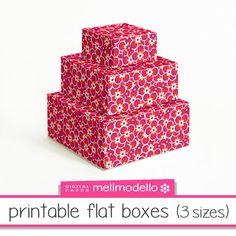 Printable flat boxes Léontine red 3 sizes leontine par melimodello