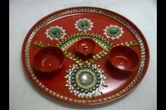 1000 images about pooja thali decoration on pinterest for Aarti thali decoration with kundan