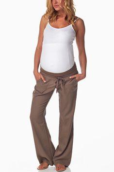 Mocha Linen Maternity Yoga Pants