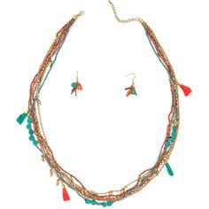 Bohemian Babe Beaded Necklace Set ❤ liked on Polyvore featuring jewelry, necklaces, beading jewelry, beaded jewelry, boho chic jewelry, bohemian necklaces and bohemian jewelry