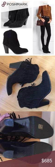 "Saint Laurent New Western suede fringe boots Guaranteed authentic. No box. Worn only three times. Saint Laurent's 'New Western' ankle boots are inspired by vintage Americana. This classic black pair has been immaculately crafted in Italy from suede, trimmed with fringing and grounded with a stacked heel. Side tabs ensure they'll pull on effortlessly. 3"" heel. So comfortable. SOLD OUT in this size! Size 42 (which is a US 11.5) but online suggests sizing down half a size. They fit best on a…"
