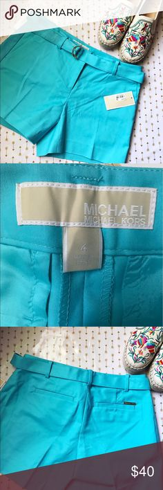 Michael Kors belted shorts Beautiful and perfect for summer! These shorts are brand new with tags still attached! ❌ NO TRADES AND PRICE IS FIRM ❌SHOES ARE NOT AVAILABLE Michael Kors Shorts