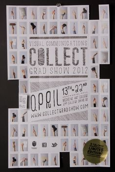 Collect Grad Show (Poster) - Avery Kinsella Design - Hands holding the students tools - also each image is a die cut square which can be torn off