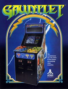 The Arcade Flyer Archive - Video Game Flyers: Gauntlet, Atari Games Corporation Vintage Video Games, Classic Video Games, Retro Video Games, Video Game Art, Retro Games, Arcade Game Machines, Arcade Machine, Arcade Games, Arcade Fire