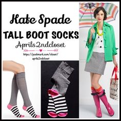Kate Spade TALL SOCKS Knee Highs  NEW WITH TAGS   Kate Spade Tall Knee High Boot Socks  * Super soft & comfortable fabric * Opaque Knit construction (not sheer). * Stretch-to-fit * One size fits most; Pull on & to the knee style  Fabric: 67% Cotton, 31% Polyester & 2% spandex; Machine wash Item:91300 Color: Black, white & Pink combo  No Trades ✅Bundle Discounts✅ kate spade Accessories Hosiery & Socks