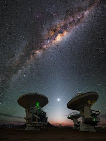 The Milky Way over Chilean Andes Radio Astronomy, Space And Astronomy, Area Of Expertise, Milky Way, Telescope, Night Skies, Cosmos, Galaxies, Landscape Photography