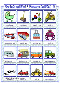Verkehrs- und Transportmittel 2 _ Bildwörterbuch + AB + sw-Version