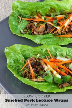 The Stay At Home Chef: Slow Cooker Smoked Pork Lettuce Wraps with Hoisin Sauce