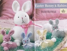 Easter Bunny Crochet Pattern, Mom and Spring Baby Bunnies Rabbits