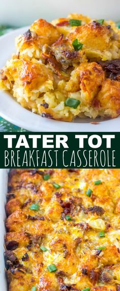 Full of tater tots, bacon, cheese and sausage this Tater Tot Breakfast Casserole is a hearty breakfast dish that feeds a crowd and is 100% delicious. #breakfast #casserole #eggbake #bacon #sausage #cheese #brunch