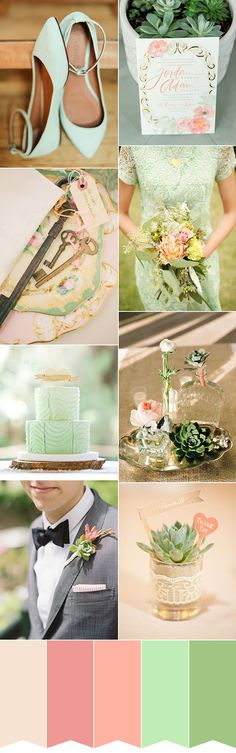 Fresh Mint and Pink Inspiration Colour Palette | www.onefabday.com