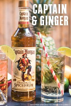 Looking for a drink to match your summer vibe? May I suggest this recipe: 1.5 oz Captain Morgan Original Spiced Rum 3 oz ginger ale 1 lemon wedge Get full recipe at: https://us.captainmorgan.com/rum-cocktail/captain-and-ginger/?utm_source=pinterest&utm_medium=social&utm_term=summer&utm_content=captain_ginger&utm_campaign=recipe