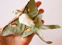"""Luna Moth Statement Fiber Brooch Saturniid Butterfly Natural History Gift for Her Nature Lover Gift Creature of the Night  Re-discover the magic of butterflies (and moths!)  They remind you of happy summers when you were little. They made a walk in the countryside a magical event. You watched them for hours. Sketched them in your notebook. Colored them in your """"Butterflies of the World"""" coloring book using many crayons of your much-loved box of 64 Crayolas. Just like your first experience…"""