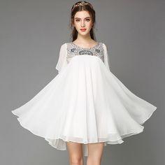 2016 en mousseline de soie Robe trapèze Glam perles de cristal O-cou Pétale cool manches A-ligne solide blanc robes de Gasa