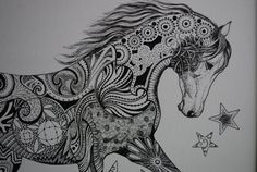 zentangle horse by Trish Lewsader by LuckyDuckyArt on Etsy