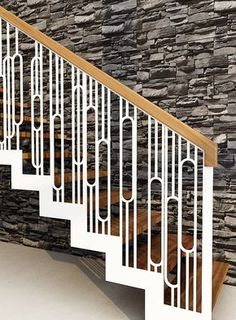 Gorgeous retro style balustrade by Design+Weld Balustrade Design, Staircase Railing Design, Staircase Handrail, Balcony Railing Design, Interior Staircase, Staircase Railings, Staircases, Steel Stairs, Model House Plan