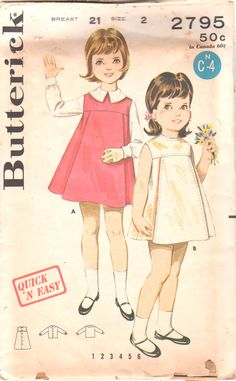 Butterick 2795  1960s Toddlers A Line Dress Jumper and Blouse girls vintage sewing pattern