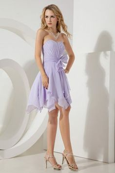 Lilac Empire Mini Bridesmaid Dresses Embellished Bowknot in Nova Scotia