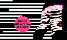 Going on now. Sephora gift card valued at $10 for only $5. While supplies last. Get it while you can! Gift Card Deals, Sephora, Cards, Gifts, Presents, Maps, Favors, Playing Cards, Gift