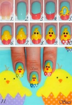 Easter Chicken Nails - Nail Art Gallery Step-by-Step Tutorial Photos Easter Nail Designs, Cute Nail Designs, Diy Easter Nails, Easter Crafts, Duck Nails, Cute Nail Art, Nail Art Galleries, Creative Nails, Nail Tutorials