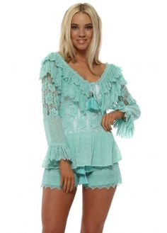 039374ae29a Turquoise Lace Ruffle Beaded Top Ruffle Beading