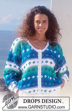 """DROPS 33-12 - Drops jacket with stripes in """"Paris"""". - Free pattern by DROPS Design"""