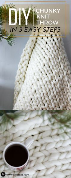 You won't believe how easy it is to make this chunky knit blanket! Follow 3 EASY STEPS