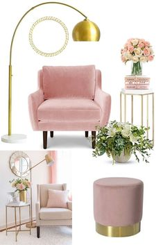 homedecor living room Everything beautiful with this room decor idea. I love the golden decorations and also the blush furniture. This are great ideas for a small space of for a lounge or living room. its a great idea for your sitting room, why not try it Pink Living Room Furniture, Blush Living Room, Living Room Decor Colors, Living Room Interior, Living Room Designs, Bedroom Decor, Rustic Furniture, Living Rooms, Antique Furniture