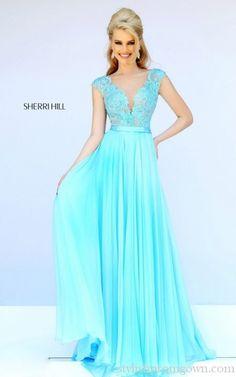 Aqua Sherri Hill 11269 Lace Dreamy Long Prom Gown Cheap