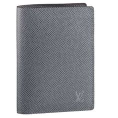 Men Louis Vuitton Taiga Leather Card And Notes Holder Glacier M32615