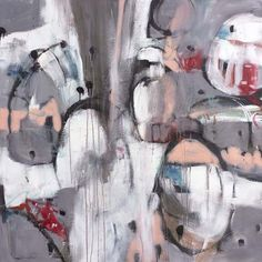 A beautiful abstract in grey, peach, white, black, and pops of red.