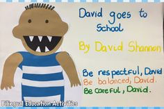Working on behavior – David goes to school, by David Shannon No David, David Shannon, Admin Work, Education Logo Design, Bilingual Education, I Work Hard, Educational Activities, Book Authors, Behavior