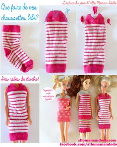 Socks become dress for Barbie!  Une chaussettes, 3 coups de ciseaux, et voila une robe pour Barbie!  https://www.facebook.com/AlloMamanDodo/photos/a.493677513977524.119186.487500237928585/849591858386086/?type=1&theater