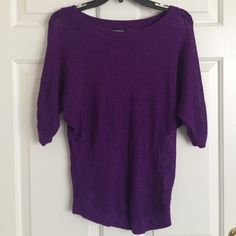 Express Purple Fishnet Light Sweater Quarter sleeve purple light sweater with fishnet stitching. Can be dressed up or down! Express Sweaters Crew & Scoop Necks