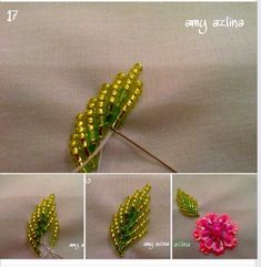 bead embroidery tutorial Leaf Tutorial this is only one way as there are many ways to create a leaf Bead Embroidery Tutorial, Bead Embroidery Patterns, Bead Embroidery Jewelry, Beaded Jewelry Patterns, Hand Embroidery Designs, Tambour Beading, Tambour Embroidery, Hand Embroidery Videos, Loom Beading