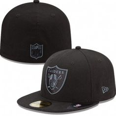 Oakland Raiders New Era NFL Black On Black Fitted 59Fifty Hat (Black)