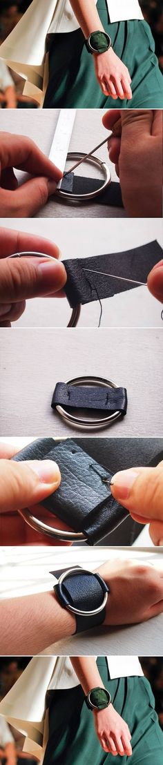 I like this with maybe a colored fabric scrap??  DIY Wide Ring Leather Bracelet DIY Wide Ring Leather Bracelet